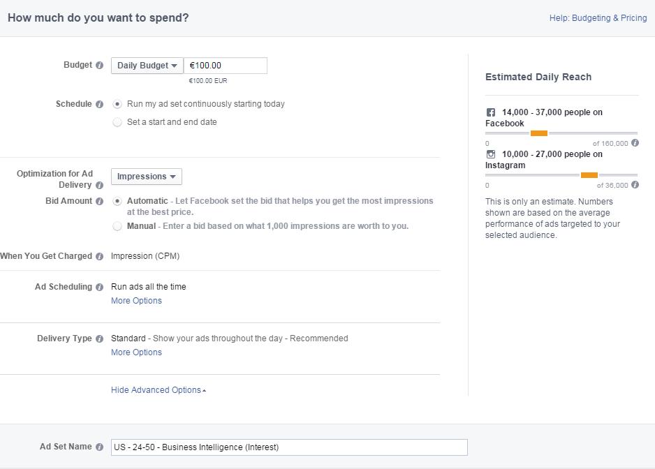 Facebook Ads Budgeting