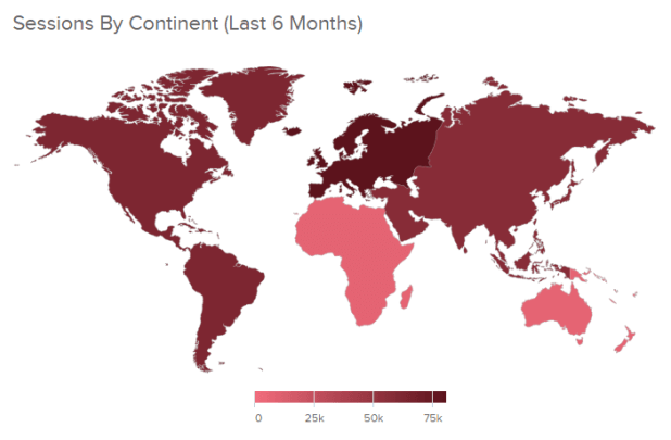 One of the most popular data visualization types: A map chart visualizing sessions by continent