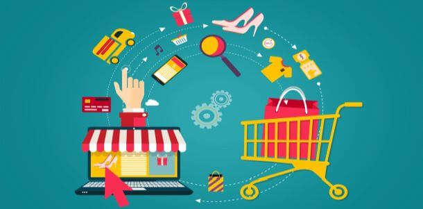 Online shopping - from laptop to shopping cart