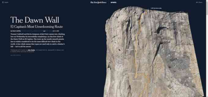 visualization of the dawn wall - el capitan's most unwelcoming route