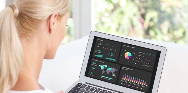 Women looking at a Google Analytics KPI dashboard on a laptop