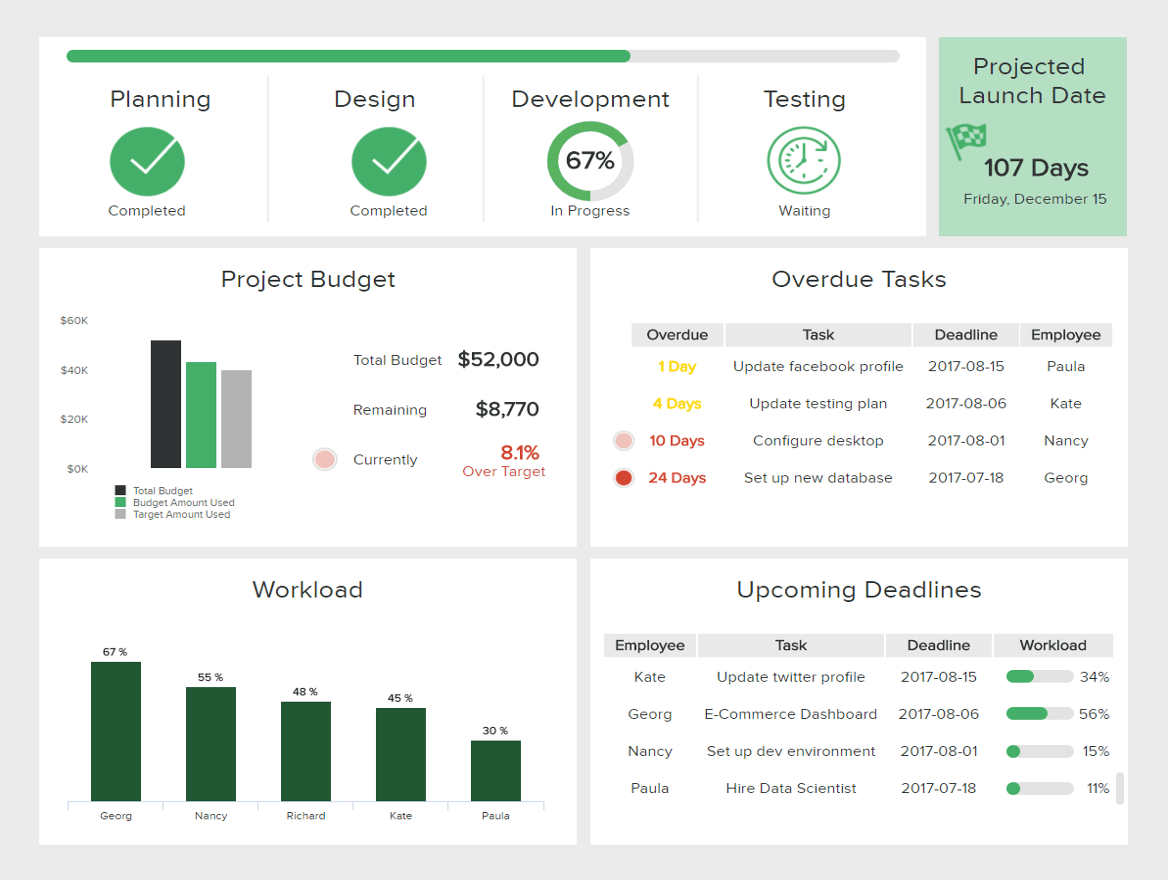 One of our management reporting examples: IT project management depicting the budget, workload, overdue tasks, upcoming deadlines, among others.