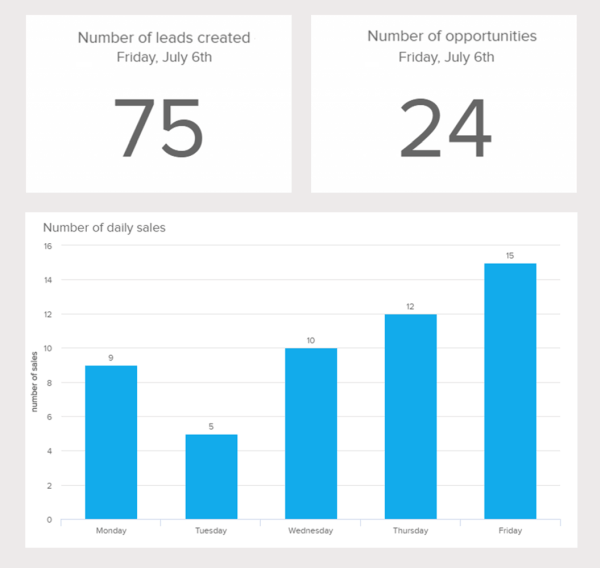 Example of a daily sales reports displaying the number of sales, leads and opportunities created.
