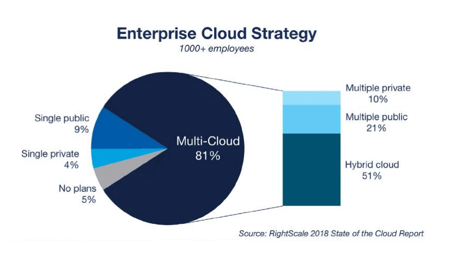 In the cloud strategy, 81% of of enterprises have a multi-cloud strategy.