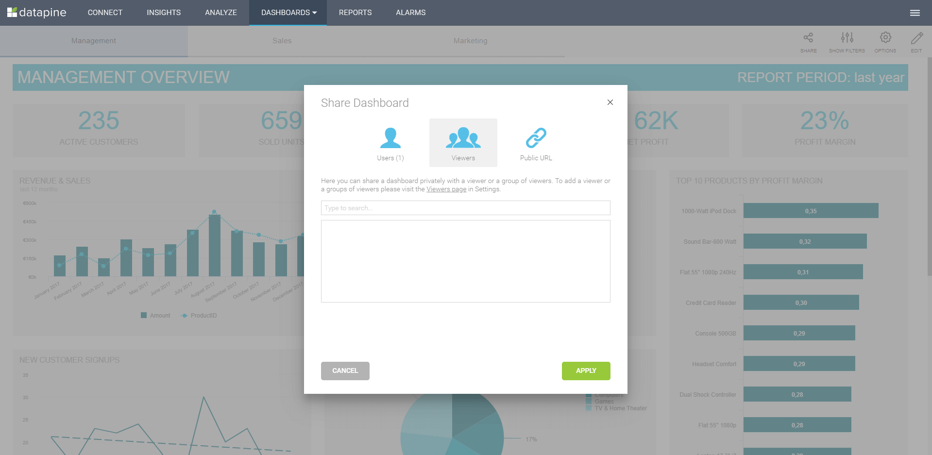 Sharing options with datapine's dashboards