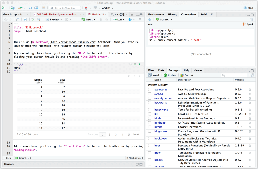 data science tool example: RStudio interface