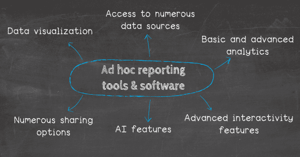 Ad hoc reporting tools should have these features: 1. Advanced interactivity features, 2. Access to numerous data sources, 3. Basic and advanced analytical possibilities, 4. Data visualization capabilities, 5. Artificial intelligence features, 6. Numerous sharing options.
