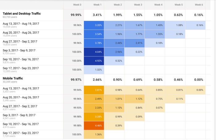 cohort analysis chart example from google analytics