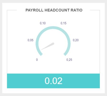 CFO dashboard metric example showing payroll headcount ratio of 0,02