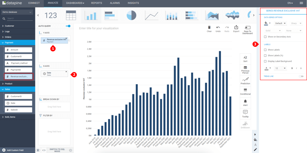 How to create a chart using calculated fields