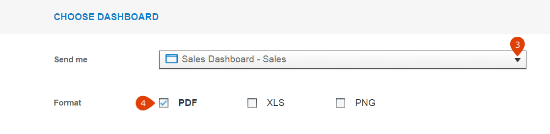 choose dashboard and report formant