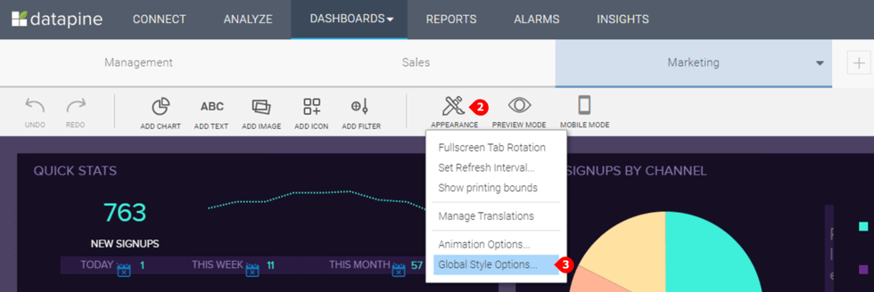 how to access the global style options for your dashboards in datapine