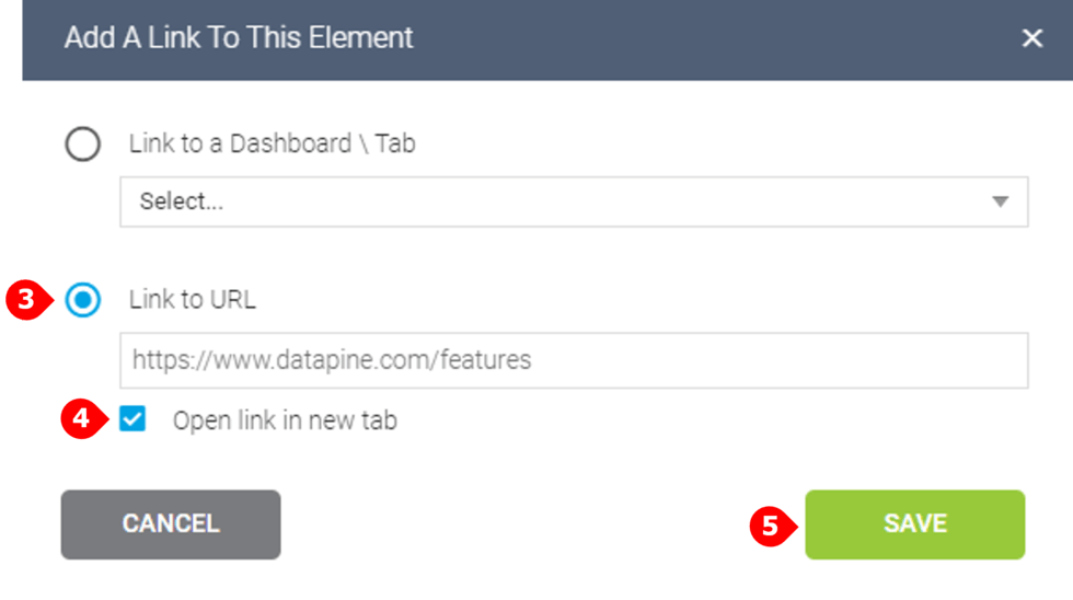 how to add an external link on a dashboard in datapine