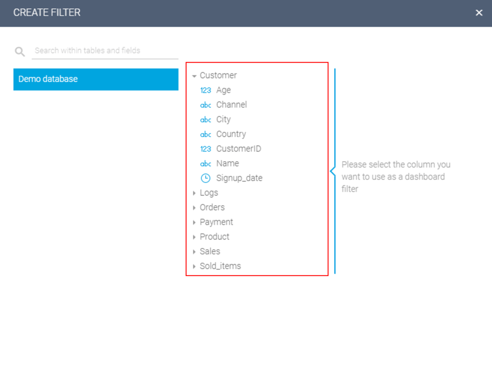 how to add a new dashboard filter step 2: select column / variable