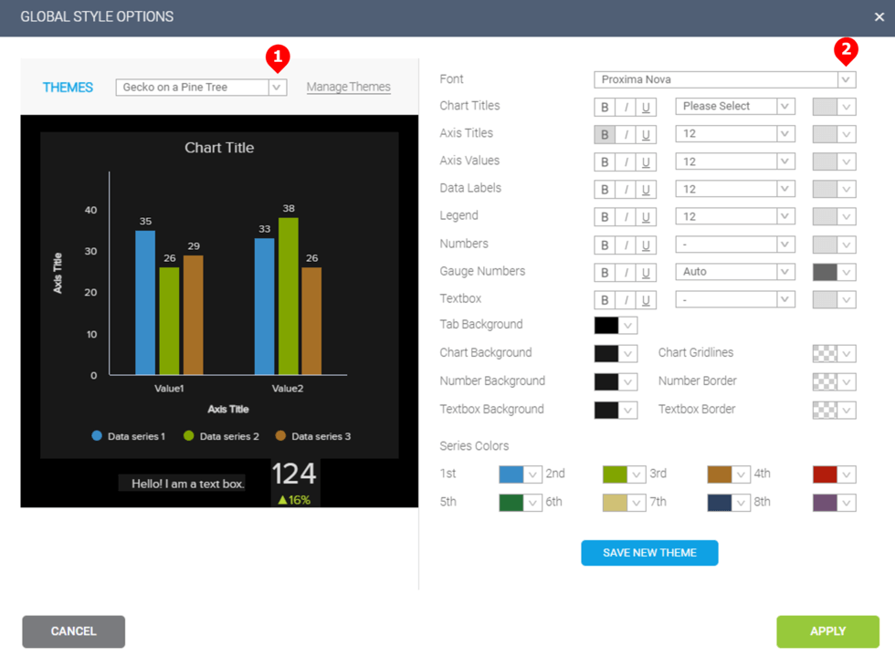 how to select and apply global style options for your dashboards in datapine