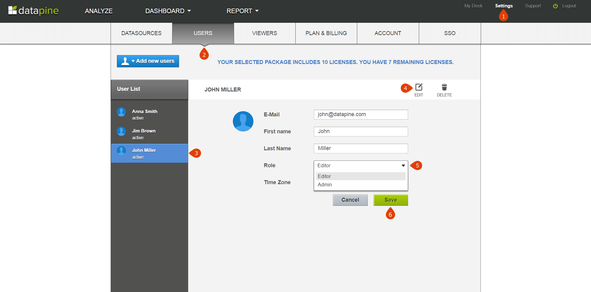 how to change user permissions in datapine