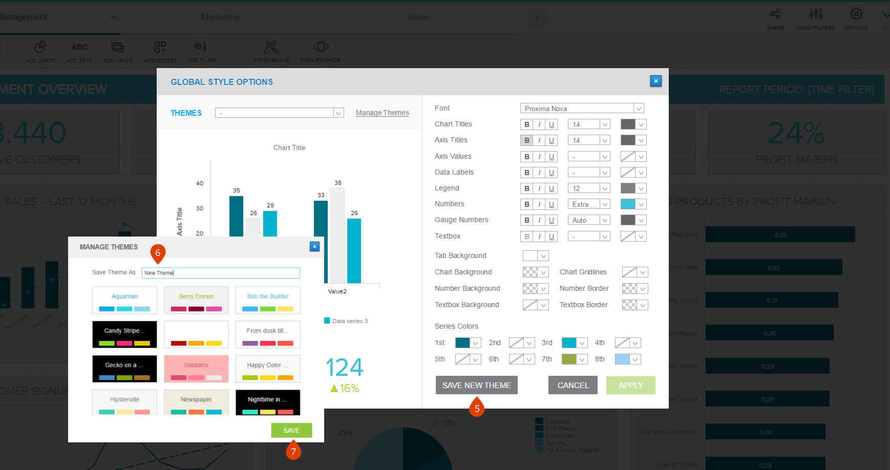 how to create and apply a custom dashboard design in datapine