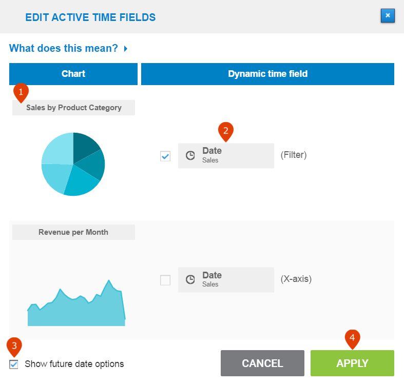 how to edit / delete time filter on a dashboard in datapine