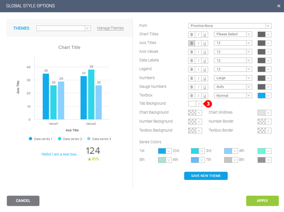 how to changes the background color on a dashboard in datapine with global style options