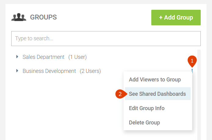 how to see dashboards which are shared with a group of dashboard viewers