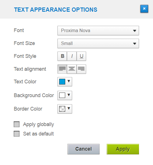 text appereance options on a dashboard in datapine