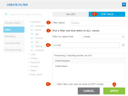 how to set up a text rule filter on a dashboard in datapine