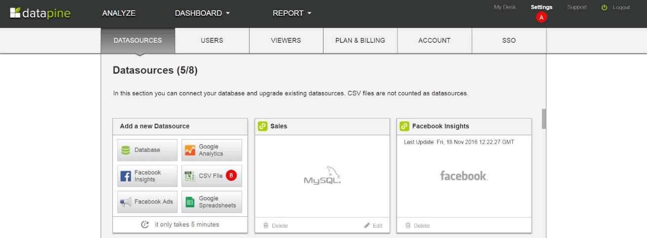 add a csv data source in datapine