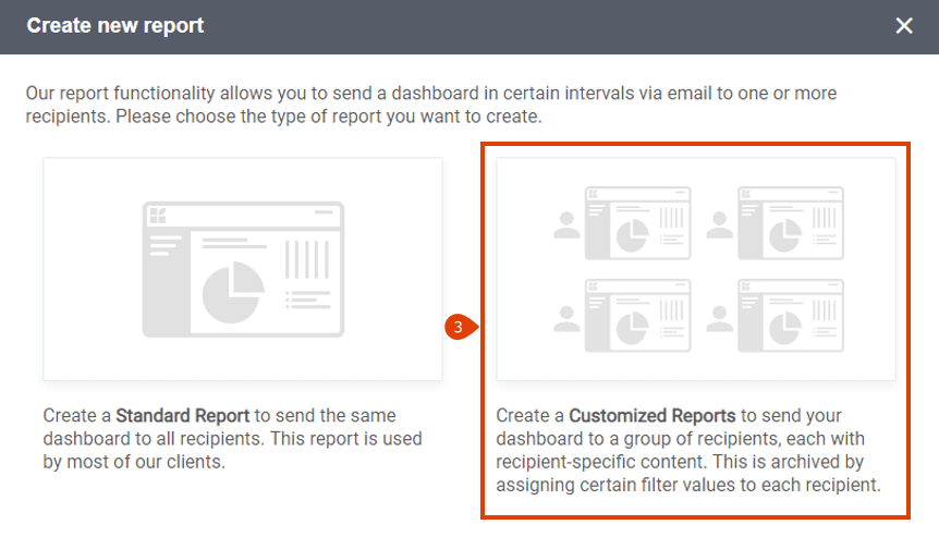 How to create a custom report step 2