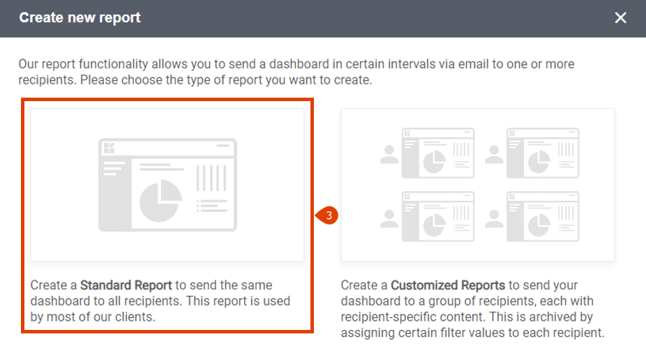 How to create a standard report step 2