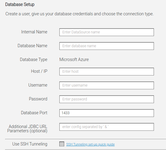 database connection screen datapine