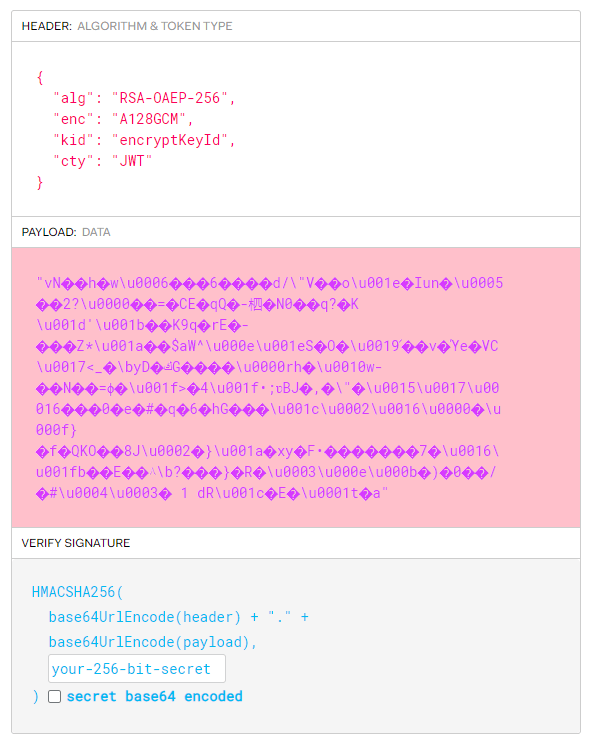 decoded token example with only visible headers