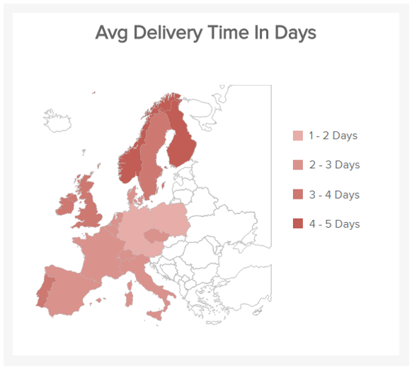 map chart which visualizes the average delivery time in days