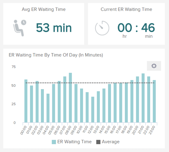 data visualizations illustrating the emergency room wait time