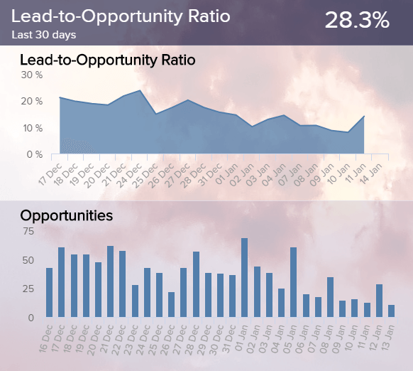 visualization of the lead quality with the help of the lead-to-opportunity ratio