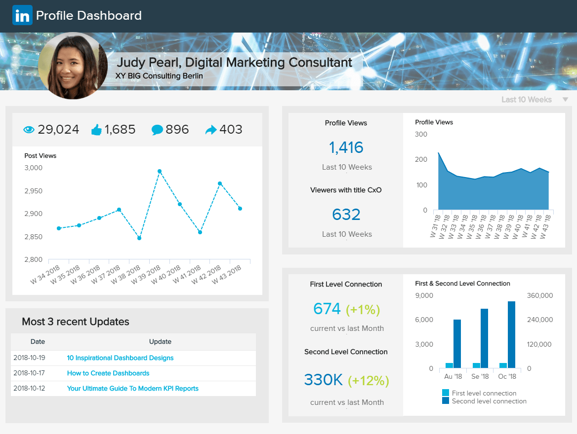 LinkedIn Dashboards - Beispiel #2: LinkedIn Profil Dashboard