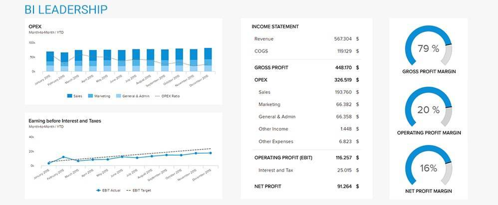 financial dashboard example for business intelligence professionals