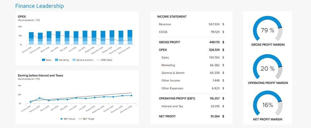 finance analytics dashboard with KPIs for leadership